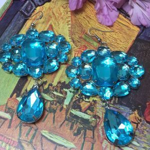 Jewelry - Earrings Rhinestone Statement Blue Turquoise EUC